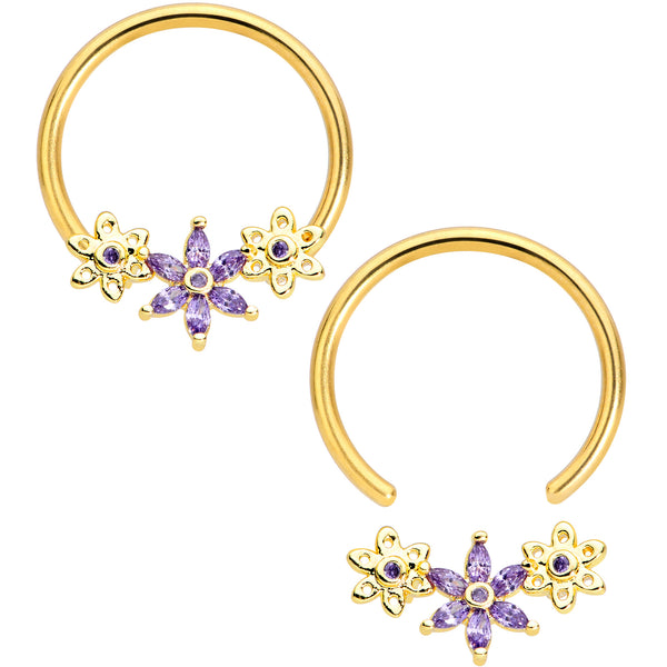 14 Gauge 5/8 Purple CZ Gold Anodized Daisy Flower BCR Nipple Ring Set