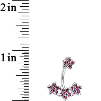 Pink Gem Field of Flowers Double Mount Belly Ring