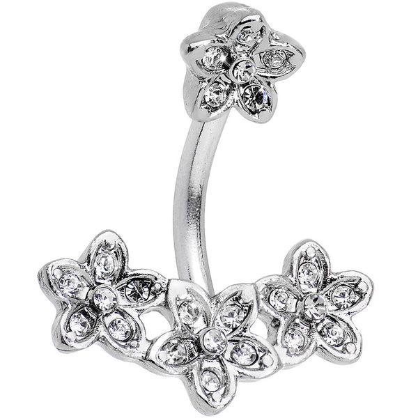 Clear Gem Field of Flowers Double Mount Belly Ring