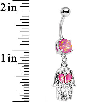 Pink Faux Opal Hamsa Hand and Heart Dangle Belly Ring