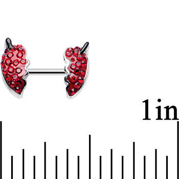 16 Gauge 1/4 Red Delicious Strawberry Double Helix Cartilage Earring