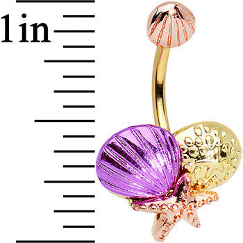 Gold PVD Multicolor Starfish Sea Shell Double Mount Belly Ring