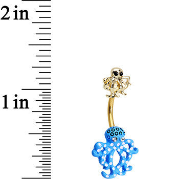 Clear Black Gem Gold PVD Gold and Blue Octopus Double Mount Belly Ring