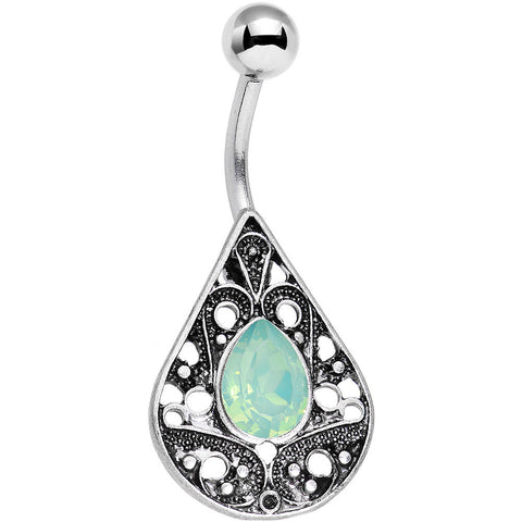 Light Green Faux Opal Oval Drop Tears of Heaven Belly Ring