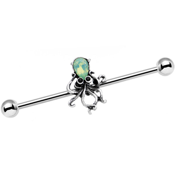 14 Gauge Green Faux Opal Thoughtful Octopus Industrial Barbell 38mm