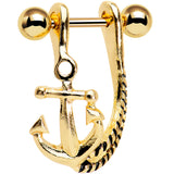 "3/8"" Gold Plated Toss Your Anchor Left Dangle Cartilage Earring"