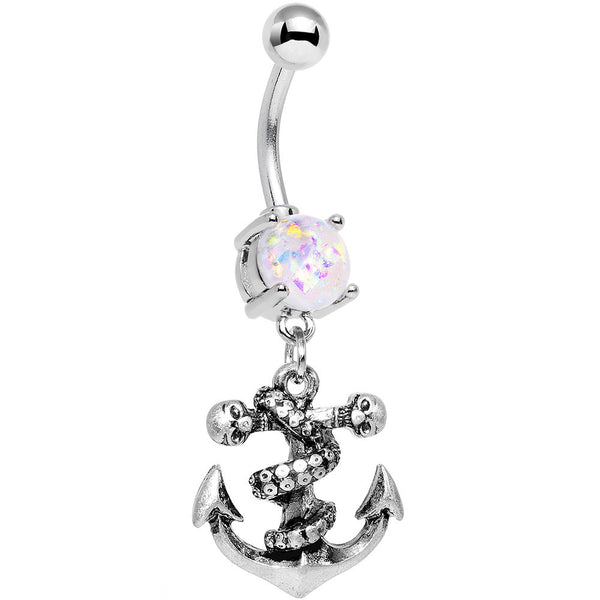 White Faux Opal Pirate Skull Nautical Anchor Dangle Belly Ring