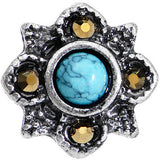 16 Gauge 1/4 Faux Turquoise Bohemian Flower Tragus Cartilage Earring