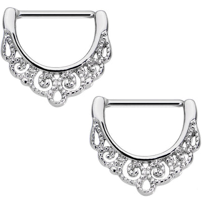 Body Candy Anodized Stainless Steel Floral Wreath Nipple Clicker Set of 2 14 Gauge 9//16
