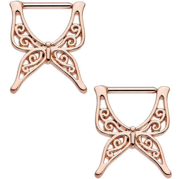"7/16"" Rose Gold Anodized Swirly Wing Butterfly Nipple Clicker Set"