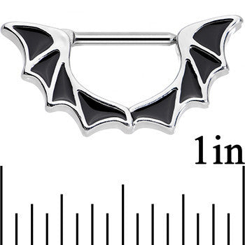 14 Gauge 1/2 Stainless Steel Halloween Bat Wings Nipple Clicker Set