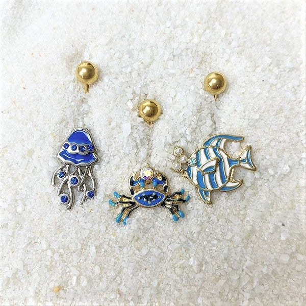 Blue Gem White Orb Gold PVD Fashionable Fishy Belly Ring