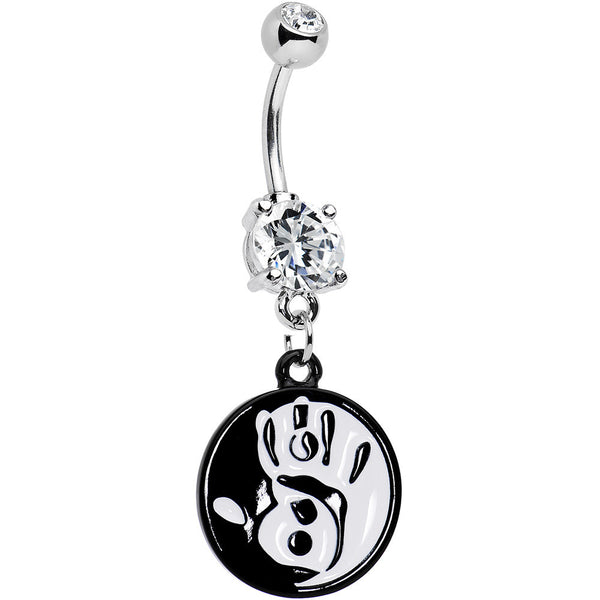 Clear Gem Coexist Black and White Hand Yin Yang Dangle Belly Ring