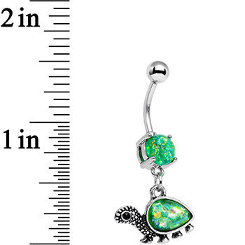 Green Faux Opal Traipsing Turtle Dangle Belly Ring