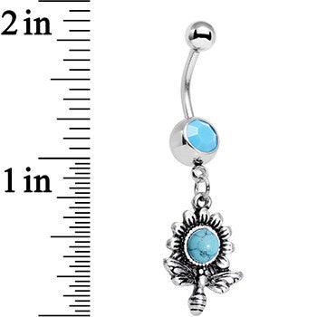 Faux Turquoise Buzzing Bee Favorite Flower Dangle Belly Ring