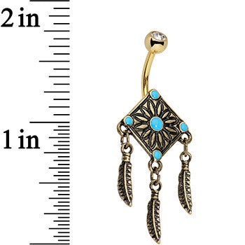 Faux Turquoise Gold Anodized Aztec Feather Dangle Belly Ring