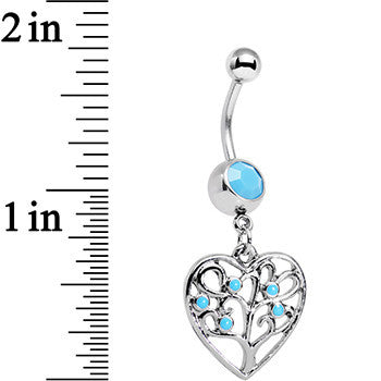 Faux Turquoise Tree of Life Heart Dangle Belly Ring