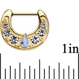 16 Gauge 5/16 Gold Plated Aurora Teardrop Clear Gem Septum Clicker