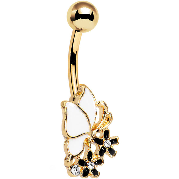 Gold Anodized Black and White Butterfly and Flower Belly Ring