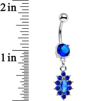 Royal Blue Gem Decadent Detail Drop Dangle Belly Ring