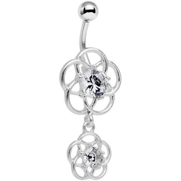 Clear Gem Framework Double Flower Dangle Belly Ring