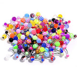 UV Acrylic Ball Steel Barbell Belly Button Ring Set of 100