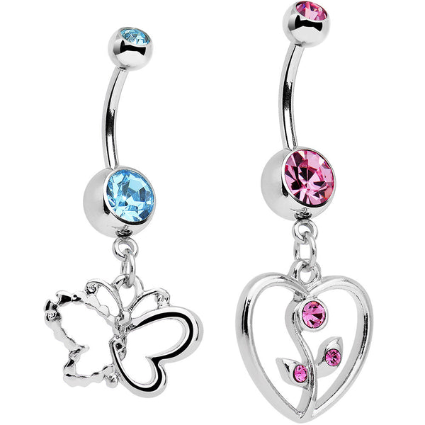 Blue and Pink Gem Bring Me Spring Dangle Belly Ring Set of 2