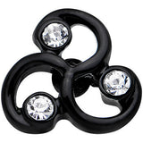 16 Gauge 1/4 Clear Gem Black Trinity Swirl Tragus Cartilage Earring