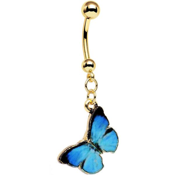 Gold Anodized Steel Beautiful Blue Butterfly Dangle Belly Ring
