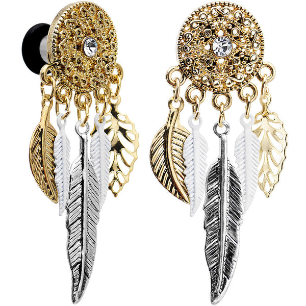 4 Gauge Clear Gem Ornate Gold Disc Leaf Feather Dangle Plug Set