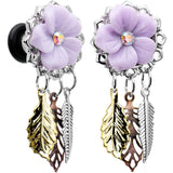 4 Gauge Aurora Gem Purple Petal Flower Leaf Feather Dangle Plug Set