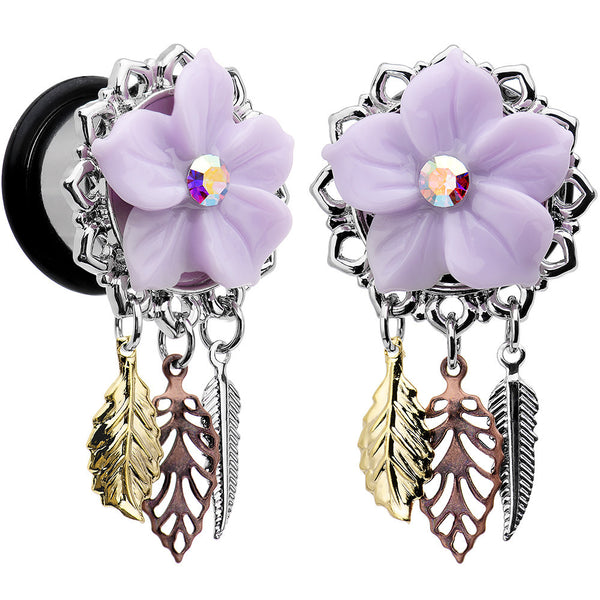 "9/16"" Aurora Gem Purple Petal Flower Leaf Feather Dangle Plug Set"