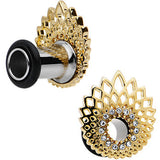 2 Gauge Clear Gem Golden Gala Feather Single Flare Tunnel Plug Set