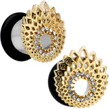 00 Gauge Clear Gem Golden Gala Feather Single Flare Tunnel Plug Set