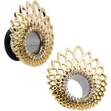 "1/2"" Clear Gem Golden Gala Feather Single Flare Tunnel Plug Set"