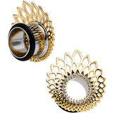 "9/16"" Clear Gem Golden Gala Feather Single Flare Tunnel Plug Set"