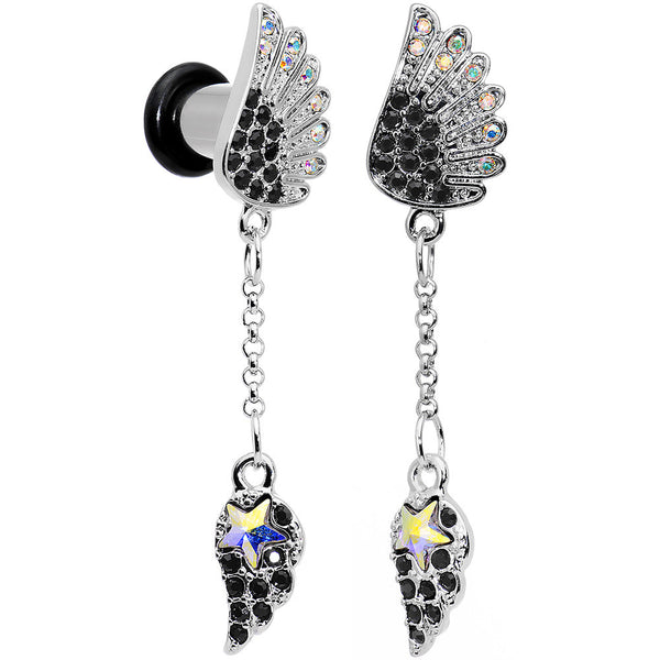 2 Gauge Aurora Black Gem Arial Angel Wings Dangle Plug Set