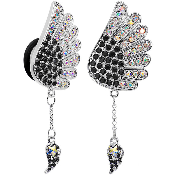 "5/8"" Aurora Black Gem Arial Angel Wings Dangle Plug Set"