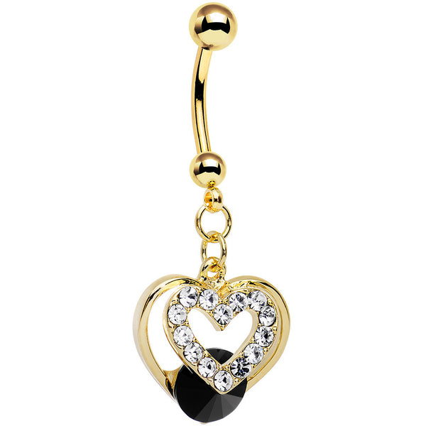Clear Black Gem Gold Anodized Steel Show Your Heart Dangle Belly Ring
