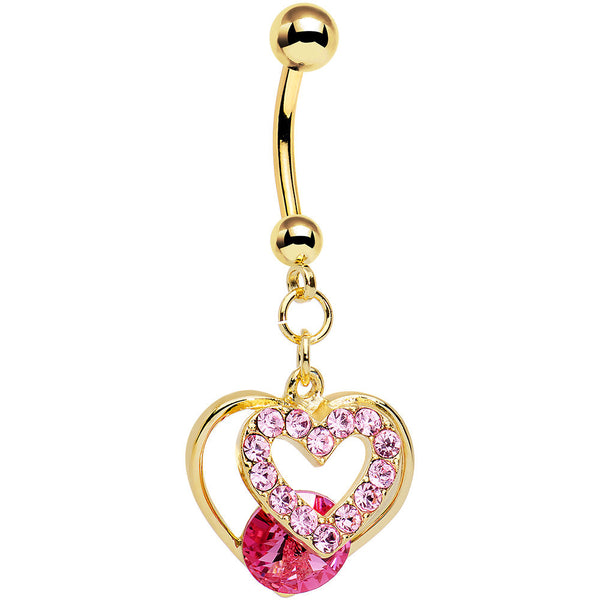 Pink Gem Gold Anodized Steel Show Your Heart Dangle Belly Ring