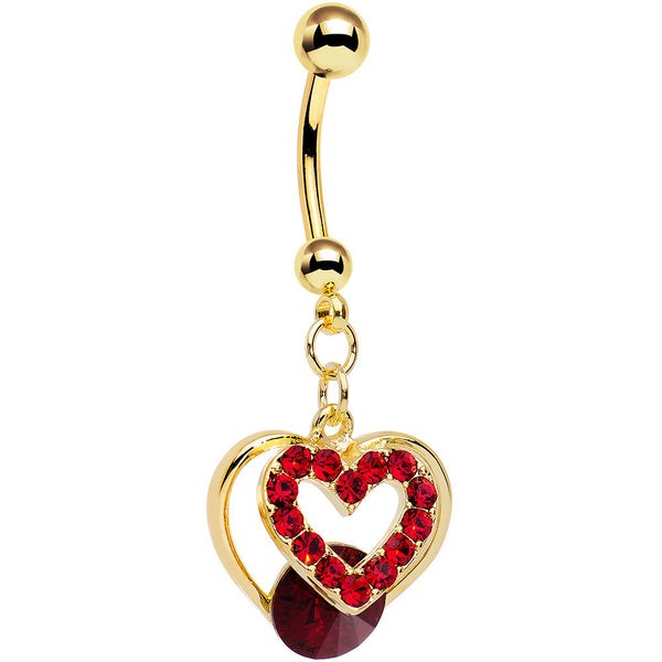 Red Gem Gold Anodized Steel Show Your Heart Dangle Belly Ring