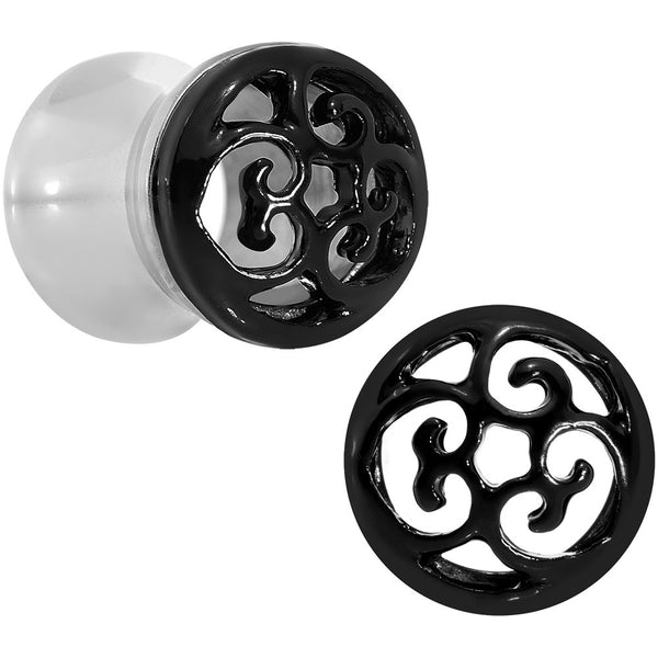 0 Gauge Steel Black Filigree Duet Heart Saddle Plug Set