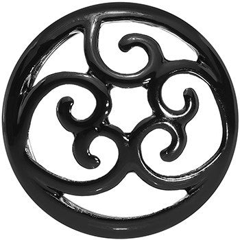 18mm Steel Black Filigree Duet Heart Saddle Plug Set