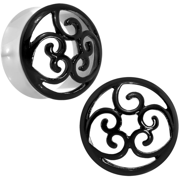 7/8 Steel Black Filigree Duet Heart Saddle Plug Set
