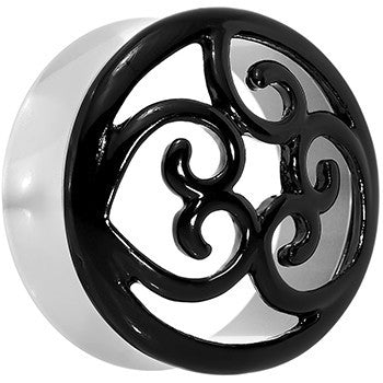 26mm Steel Black Filigree Duet Heart Saddle Plug Set
