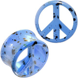 Black Speckled Blue Acrylic Peace Sign Saddle Plug Set Available in Sizes 00 Gauge to 20mm