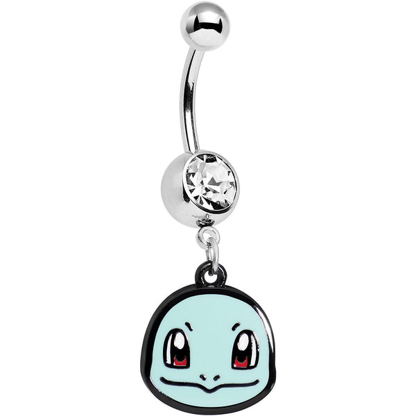 Officially Licensed Pokemon Clear Gem Squirtle Dangle Belly Ring