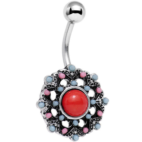 Red Blue Faux Turquoise Southwestern Flower Belly Ring