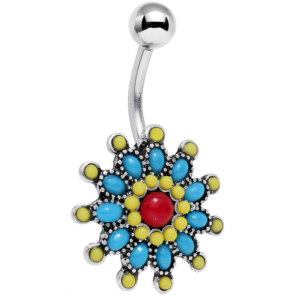 Red Blue Faux Turquoise Southwestern Power Flower Belly Ring