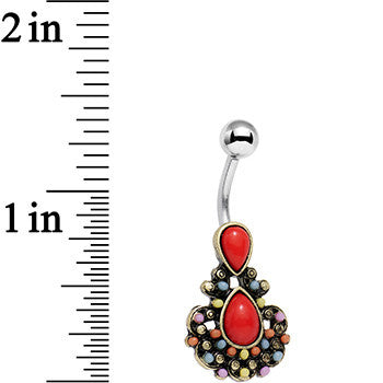Red Orb Splash of Color Southwestern Elegant Drop Belly Ring